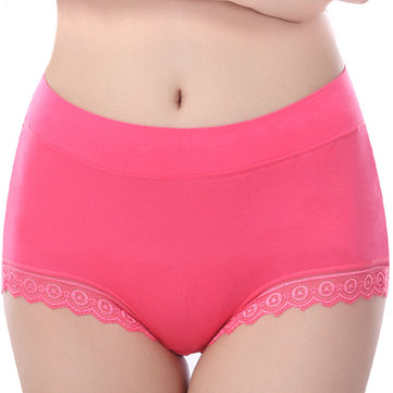 Women Cozy Seamless Soft Modal Lace-trim Anti Leakage Elastic High Waist Panties