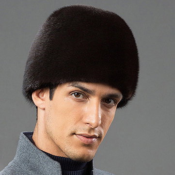 Mens Winter Warm Artificial Mink Fur Trapper Hat