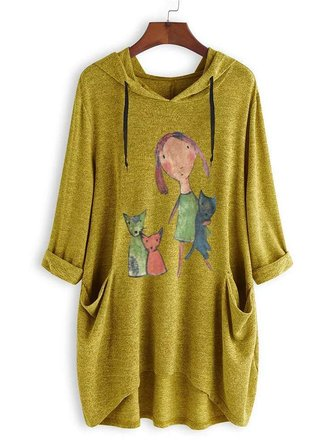 Women Casual Hooded Cartoon Long Sleeve T-Shirts