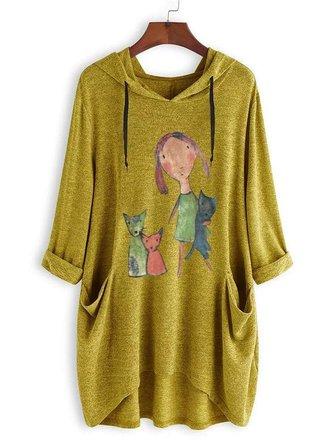Women Casual Hooded Cartoon Long Sleeve T-Shirts