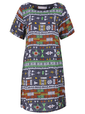 Vintage Women Folk Style Geometry Pattern Printed Summer Dress