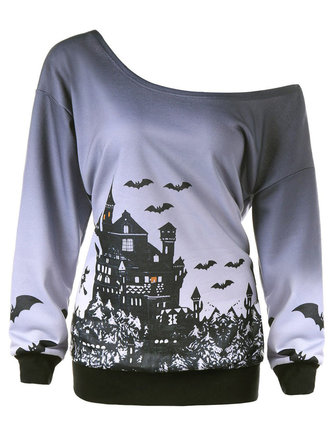 Halloween Casual One Shoulder Long Sleeve Printed Sweatshirt