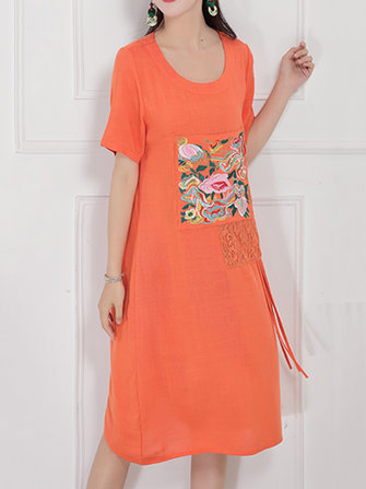 Vintage Short Sleeve Embroidery Tassel Patchwork Women Dress