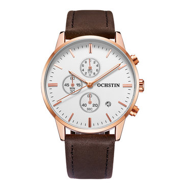 OCHSTIN GQ084 30M Waterproof Leather Band Wristwatch Analog Bussiness Men Quartz Movement Watch
