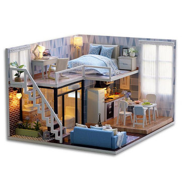 DIY Blue Time Miniature Wooden Modern Dollhouse Furniture Kit LED Christmas Gift Doll House