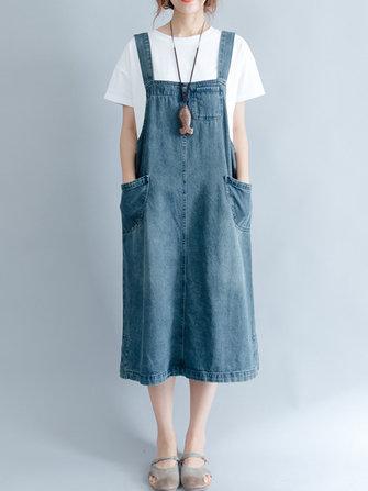 Women Sleeveless Strap Pockets Denim Dress
