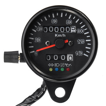 Motorcycle Speedometer Dual Odometer Gauge LED Backlight Headlight Indicator KMH