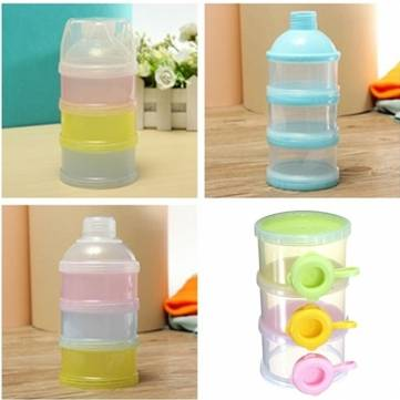 Random Color 3 Layer Baby Milk Feed Powder Dispenser Container Compartment Travel Bottle Storage Box