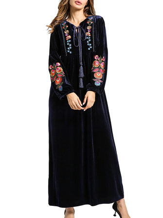 Floral Embroidery V-Neck Lace-Up Women Velvet Maxi Dress