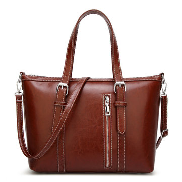 Retro Women PU Leather Tote Bag Large Capacity Shoulder Bag