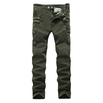 Mens Casual Zipper Slim Cargo Pants