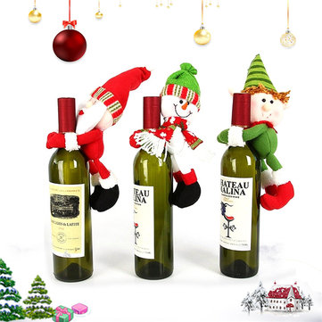 Christmas Santa Snowman Elf Wine Bottle Cover Table Party Decor Ornaments