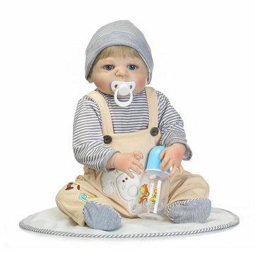 NPK 22inch 다시 태어난 아기 인형 실리콘 실물 보이 인형 비닐 놀이 집 장난감
