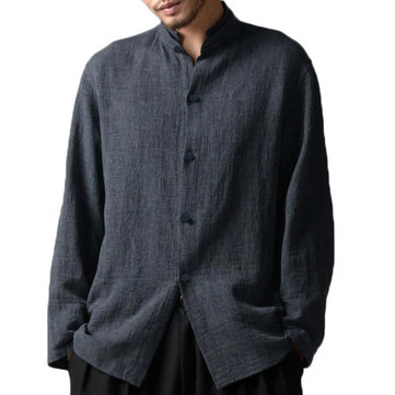 Mens Vintage Chinese Style Cotton Stand Collar Loose Shirts