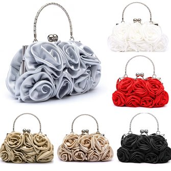 Women Bride Rose Floral Clutch Bag Evening Party Prom Bridal Diamante Banquet Accessory