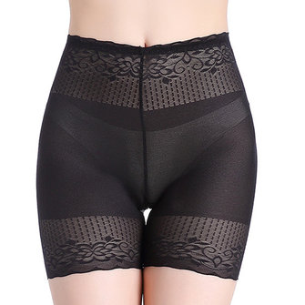 Plus Size Translucent Mesh High Waist Seamless Panties
