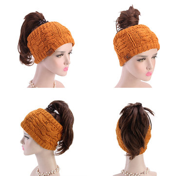 Women Girls Hand-Made Crochet Headband Ponytail Hole Cap Hairband