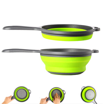 Folding Collapsible Fruit Vegetable Strainer Handle Colander Draining Basket Camping Picnic