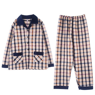 Mens Winter Warm Plaid Printing Fashion Home Casual Sleepwear Set