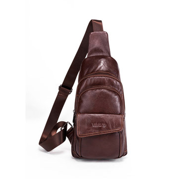 Men Vintage Genuine Leather Chest Bag Crossbody Bag High-capacity Small Shoulder Bag