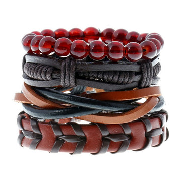 Punk Woven Cowhide Bracelet Multiplayer Hemp Leather