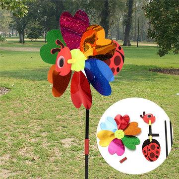 DIY милая Божья коровка мельница случайный цвет газона сад двор домашний декор вертушка Ветер паук Карусель игрушка