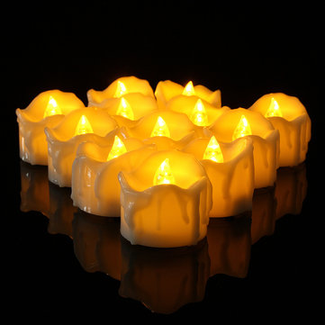 12Pcs Battery Powered Flameless LED Tea Light Candles Night Lamp Christmas Decor
