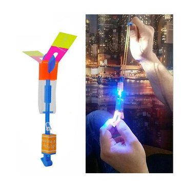 20PCS Amazing Flash LED Light Rocket Helicopter Rotating Flying Plane Toy Party Fun Pink