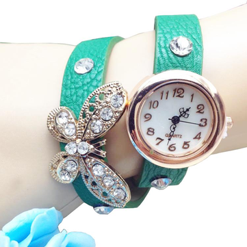 Elegant Crystal Butterfly Long PU Leather Strap Women Bracelet Watch