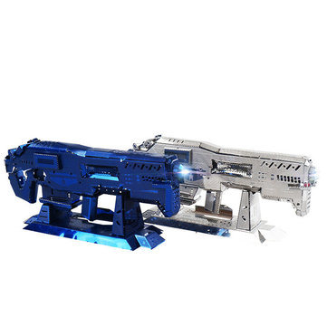 MU DIY3D Puzzle Stainless Metal Model Building Starcraft Gauss Musket Silver Blue Color