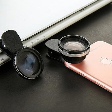 Bakeey LQ-033 2 in 1 Clip-on Optical Glass Lens HD 0.6X Wide-angle Lens 15X Macro-lens for Phone