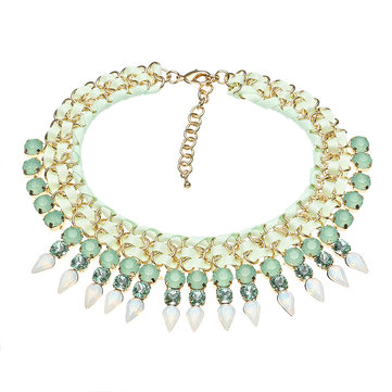 JASSY® 18K Gold Plated Crystal Statement Luxury Green Necklace Fine Jewelry for Women