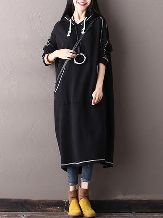 M-5XL Striped Drawstring Hooded Loose Women Back Split Sweatshirt Dress