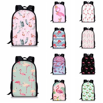 Flamingo Backpack Student Travel School College Shoulder Bag Handbag Camping Rucksack
