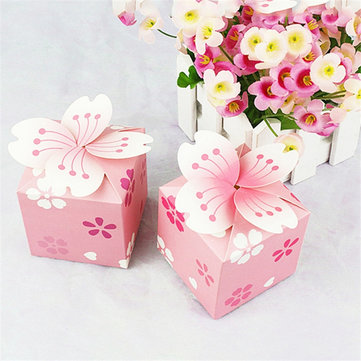 100Pcs Romantic Sakura Wedding Gift Boxes Favors Candy Boxes Wedding Birthday Supplies