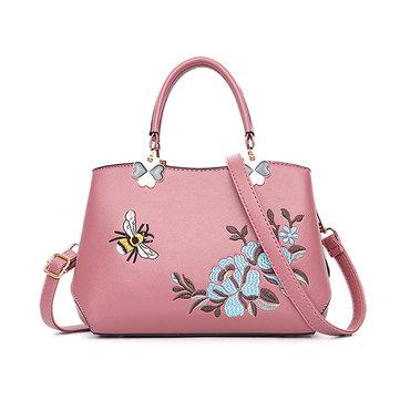 Women Embroidery Handbag PU Leather Soft Crossbody Bag