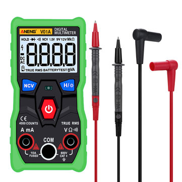 ANENG V01A Digital True RMS Multimeter Tester Autoranging Automotriz Multimeter With NCV Data Hold LCD Backlight+Flashlight Green Color