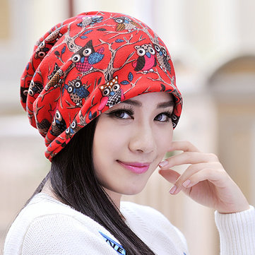 Womens Owl Pattern Slouchy Baggy Beanie Cap Scarf Multi-function Double Layers Windproof Warm Hat