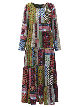 Gracila Print Patchwork Loose Women Dress