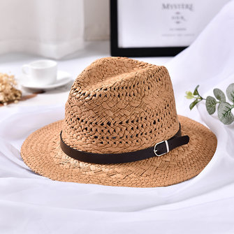 Women Summer Foldable Sunscreen Jazz Beach Hat Straw Hollow Breathable Sun Caps