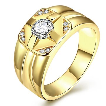 Fashion K Gold Plated Men's Rings Zircon Brass Finger Ring for Men