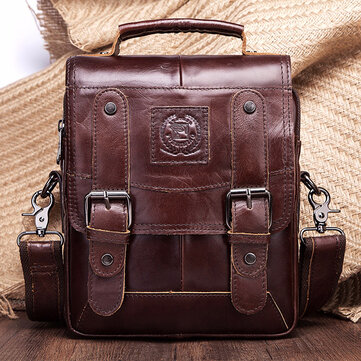 FUZHINIAO Men Genuine Leather Messenger Bag Shoulder Bag Handbags Crossbody Tote for Mens Briefcase