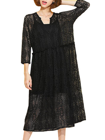 Women Sexy Black V-Neck Long Sleeve Loose Lace Dress