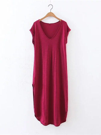 Casual Women Side Split V-neck Pure Color Dresses