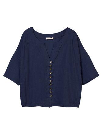Las mujeres del estilo popular botón casual verano color puro chaqueta corta