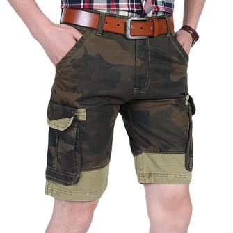 Men's Fashion Camouflage Slim Thin Shorts Summer Cotton Casual Knee-length Shorts