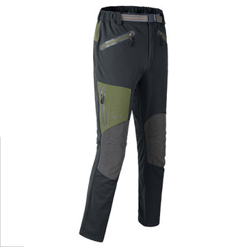 Mens Outdoor Fleece Soft Shell Pants Warm Windbreak Trousers