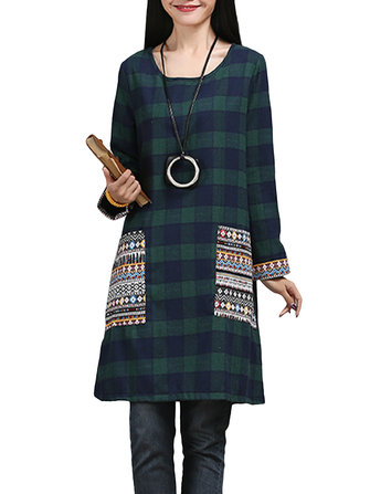 Vintage Women Plaid Patchwork Pocket Long Sleeve Loose Ethnic Dress