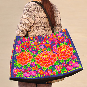 National Style Tote Bag Fashion Embroidery Bag Handbag For Women