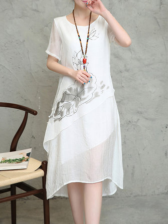 Elegant Floral Printed O-Neck Short Sleeve Irregular Hem Dress For Women